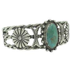 Turquoise Sterling Silver Flower Beaded Metal Work Rope Cuff Bracelet