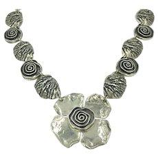 Sherry Tinsman Sterling Silver Spiral Flower Handcrafted Textured Artisan Statement Necklace