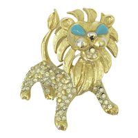 Kenneth Jay Lane 1960's Pin Leo the Lion Zodiac Animal Brooch