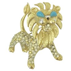 Kenneth Jay Lane 1960's Pin Leo the Lion Zodiac Animal Brooch