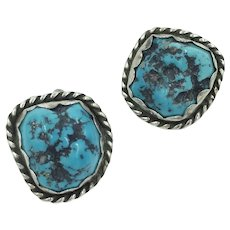 Turquoise Native American Sterling Silver Signed Clip Earrings