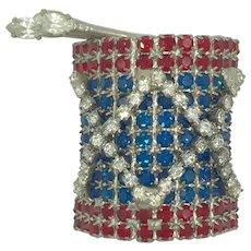 Dorothy Bauer Red White Blue Drum All American Patriotic Rhinestone Drummer Pin Brooch