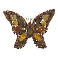 Weiss Vintage Butterfly Rhinestone Unsigned Designer Brooch Pin