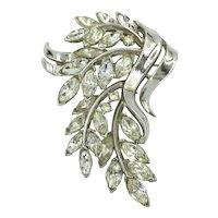 Trifari Flower & Leaf Bouquet with Crystal Clear Rhinestone Brooch Pin