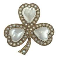 12k Gold Moonstone Pearl Heart Clover Rose Gold Pin Pendant