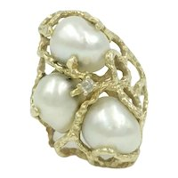 14K Baroque Pearl Yellow Gold Huge Vintage Cocktail Ring