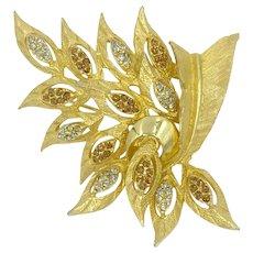Schiaparelli Signed Rhinestone Gold-tone Leaves Leaf Pin Designer Brooch