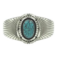 Navajo Turquoise Sterling Native American Handmade Benally  Cuff Bracelet
