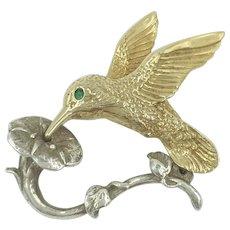 14K Emerald Hummingbird Brooch with Sterling Trumpet Flower Ballou BAB Bird Pin