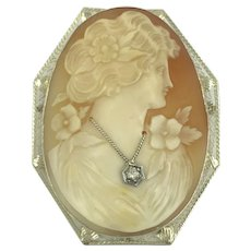 14K White Gold Antique Diamond Cameo Pin Pendant Brooch