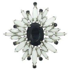 Black & White Vintage Rhinestone Milkstone Brooch Pin