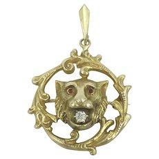 Antique Lion Diamond Ruby 9K Yellow Gold Fob Animal Pin Brooch Pendant