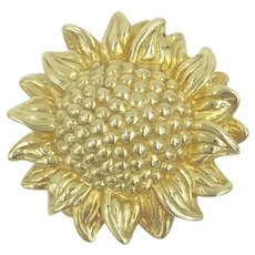 14K Yellow Gold Sunflower Brooch Flower Pin