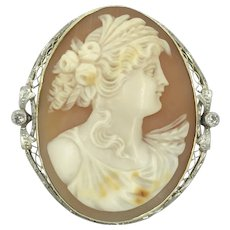 14K Antique Diamond Filigree Cameo Pin Pendant Brooch