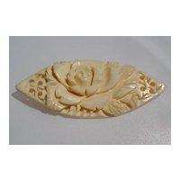 Vintage Carved Bone Flower Pin