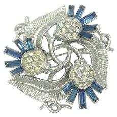 Blue Crown Trifari Crystal Rhinestone Pin Brooch Alfred Philippe Pin