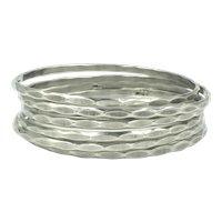 Hammered Sterling Silver Bangle Bracelets Set of Six