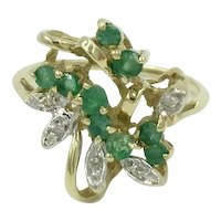 14K Yellow Gold Diamond Emerald Green Gemstone Cluster Cocktail Ring