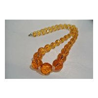 Amber Cut Crystal Glass Bead Necklace