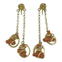 Victorian Branch Coral Earrings Nineteenth Century 1800's Antique Screw Back Long Flower Earrings