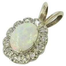 Opal Diamond 14K White Gold Pendant Charm