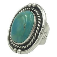 Native American Indian Sterling Silver Turquoise Huge Heavy Twisted Rope Ring