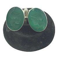 800 Silver Chrysoprase Cameo Intaglio Vintage Cufflinks
