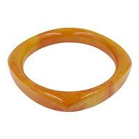 Bakelite Rounded Square Orange Swirl Marble Bangle Bracelet