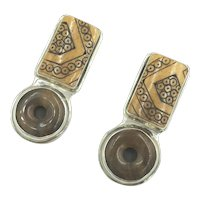 Sterling Silver Artisan GG Orgs Designer Brown Gemstone Clip Earrings