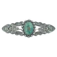 Native American Old Pawn Sterling Silver Turquoise 1940's 1950's Handmade Pin Brooch