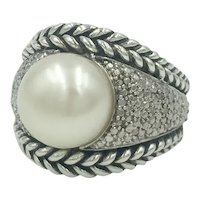 Sterling Silver Diamond Pearl Designer Cocktail Ring