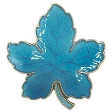 Blue Enamel Leaf Pin Sterling Silver Meka Denmark Brooch
