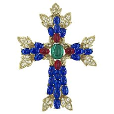 Trifari Jelly Belly Style 1998 Vintage Cross Cross Crucifix Pendant Pin Brooch