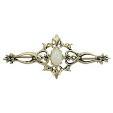 Opal 14K Yellow Gold Vintage Gemstone Pin Brooch