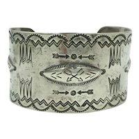 Navajo Native American Sterling Silver 1950's 1960's Cuff Bracelet