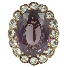 14K Rose Gold Purple Lavender Simulated Alexandrite & White Sapphire Ring