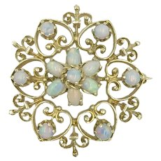 Opal 14K Yellow Gold 1960's Vintage Gemstone Victorian Revival Brooch Pin Pendant Enhancer