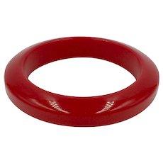 Red Bakelite Bangle Bracelet Bright Apple Cherry Fire Engine Red Bracelet