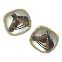 Essex Crystal Horse Cufflinks Vintage Hand Painted Designer Equestrian