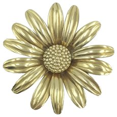 1940's HSB Gold Filled Flower Pin Harry Bick & Sons Pendant Brooch