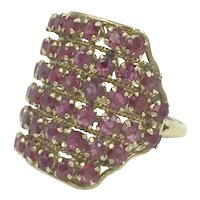 Huge 14K Natural Ruby Gemstone Estate Cocktail Ring