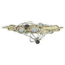 Sterling Modernist Brutalist Amethyst Opal Gemstone Handmade Artisan Pin Brooch