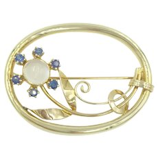 14K Yellow Gold Moonstone & Sapphires Pin 1940's 1950's Signed Brooch