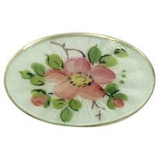 Norway Sterling Silver Enamel Brooch Pink Flower Vintage David Andersen Pin