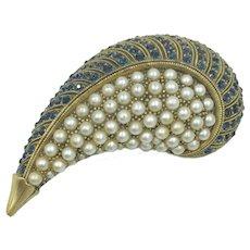Vintage Tortolani Brooch Blue Fuax Pearl Paisley Designer Pin