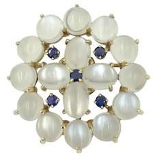 14K Yellow Gold Moonstone & Sapphire Tiffany Pin Brooch Pendant