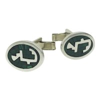Malachite Sterling Silver Mexico Inlaid Mosaic Whirlwind Aztec Cufflinks