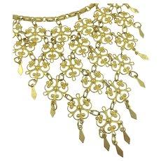 1960's Bib Necklace Gold-Tone Vendome Style Vintage Costume Necklace