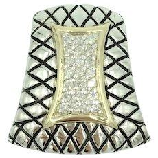 14K Yellow Gold Diamond Sterling Silver Geometric Slide Pendant