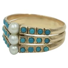 14K Gold Turquoise Pearl Antique Victorian Ring